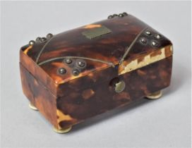 A Miniature Tortoiseshell Box of Sarcophagus Form, Section of Veneer Detached from Back (Present)