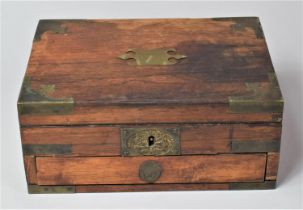 A Late 19th Century Rosewood Work Box with Brass Mounts, For Restoration, Lock Escutcheon