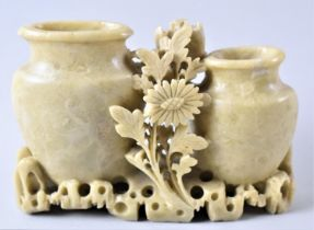A Small Oriental Carved Soapstone Item in the Form of Two Vases and Flower, 13cm Wide