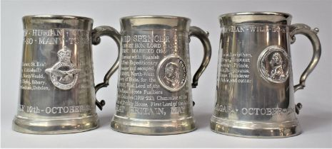 A Collection of Three Pewter Tankards Commemorating the Battle of Trafalgar, The Battle of Britain