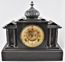 An Edwardian American Black Slate Mantle Clock of Architectural Form, Ansonia Clock Company, 8 Day