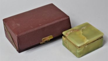 A Green Onyx Box with Hinged Lid Together with a Vintage Leather Jewellery Box with Cantilevered