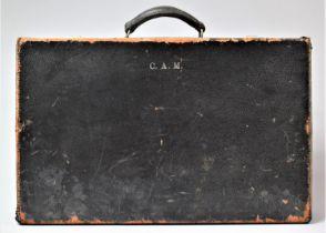 A Vintage Briefcase Monogrammed CAM, 50cm Wide