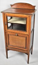 An Inlaid Edwardian Mahogany Music Cabinet with Pull Front Having Three Section Interior, Glazed Top