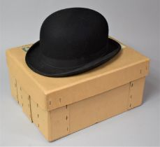 A Vintage Ladies Bowler Hat by Lock & Co., London, with Cardboard Box, Inner Measurements 20cm x