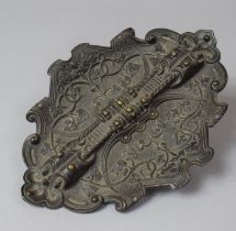 A Late 19th Century French Patinated Brass Pen Tray of Oval Form with Foliate Decoration in