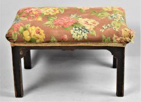 An Edwardian Upholstered Rectangular Stool, 43cm wide