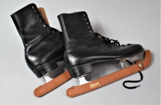 """A Pair of Vintage Lillywhites """"Criterion"""" Ice Skates with Leather Guards, Size 9 1/2"""