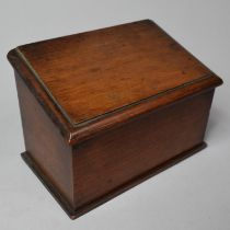A Late 19th/Early 20th Century Mahogany Three Section Stationery Box Having Hinged Sloping Lid, 17cm