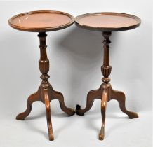 A Near Pair of Mahogany Modern Circular Topped Tripod Tables, 29cm Diameter