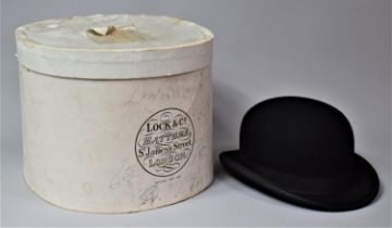 A Vintage Bowler Hat by Lock & Co., London, with Oval Locke & Co. Cardboard Box, Inner