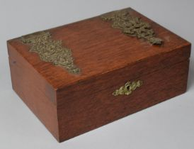 A Late 19th Century Jewellery Box with Inner Removable Tray, One Pierced Ormolu Mount to Lid Has