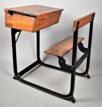 A Vintage Iron Framed School Desk, 61cm Wide