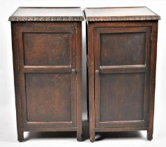 A Pair of Edwardian Oak Bedside Cabinets, 39cm wide and 73cm high