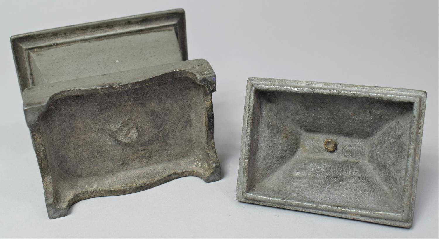A 19th Century Lead Tobacco Box of Sarcophagus Form, 11cm Wide - Image 6 of 6