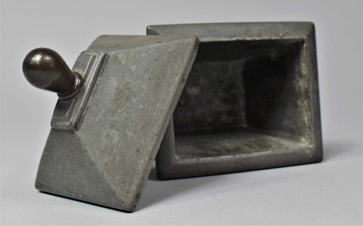 A 19th Century Lead Tobacco Box of Sarcophagus Form, 11cm Wide - Image 4 of 6
