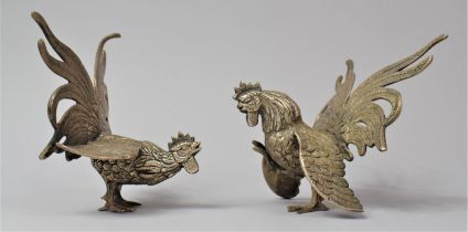 A Pair of Silver Plated Fighting Cock Ornaments, 12.5cm high