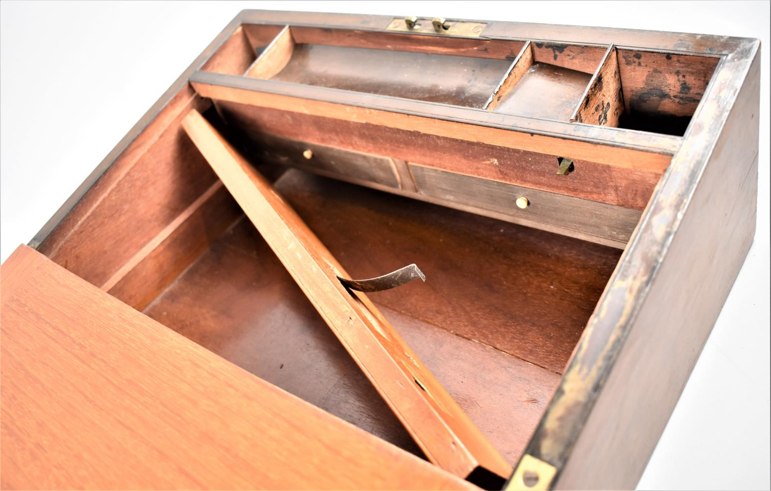 A Late 19th Century Burr Walnut Writing Slope with Tunbridge Style Banding Inlay and Brass - Image 5 of 5