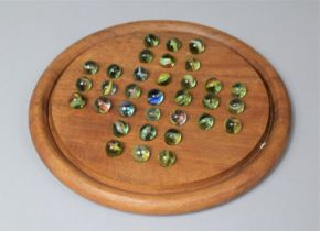 A Mid 20th Century Circular Marble Solitaire Game, 25cm Diameter