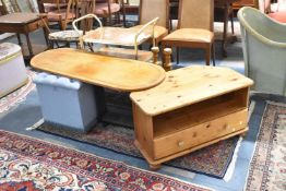 A Collection of Furniture to Include Pine TV/DVD Stand, Twin Pedestal Coffee Table for