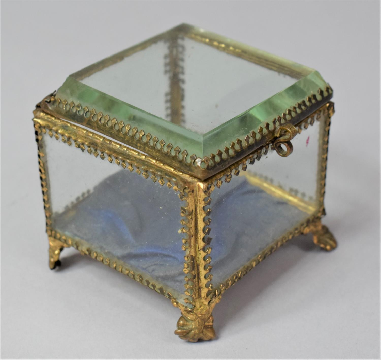 A Late 19th Century French Ormolu Framed Glass Jewellery Box on Four Scrolled Feet, 6.5cm Square - Image 3 of 3