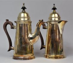 A Pair of Silver Plated Items to Comprise Coffee Pot and Hot Water Jug, both with Hinged Lids,