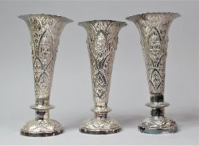A Set of Three Indian Silver Trumpet Vases with Hand Hammered Repousse work, Depicting Namaste