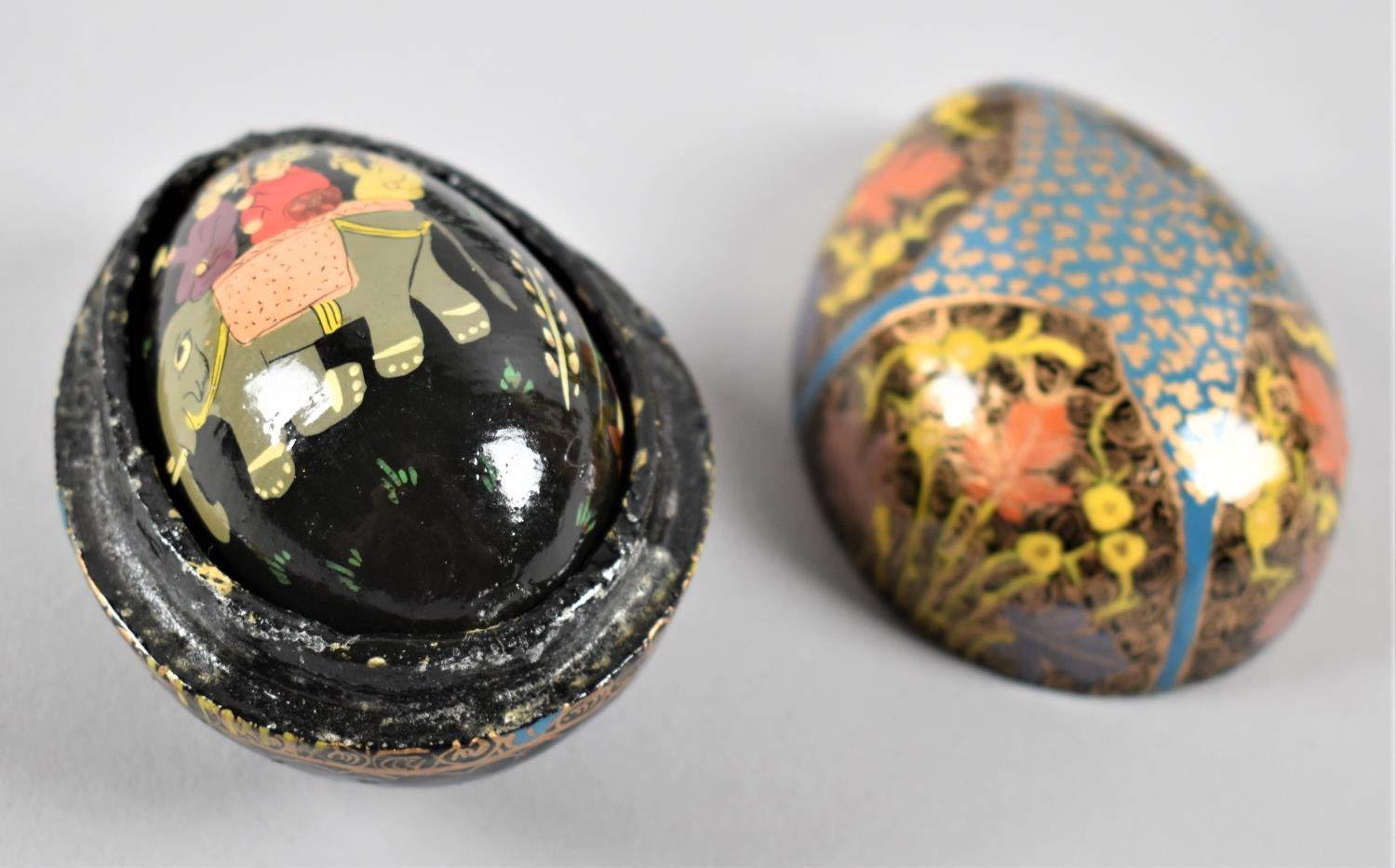 An Enamelled Pierced Brass Oriental Ovoid Lidded Box, Two Lacquered Papier Mache Boxes and a - Image 2 of 2