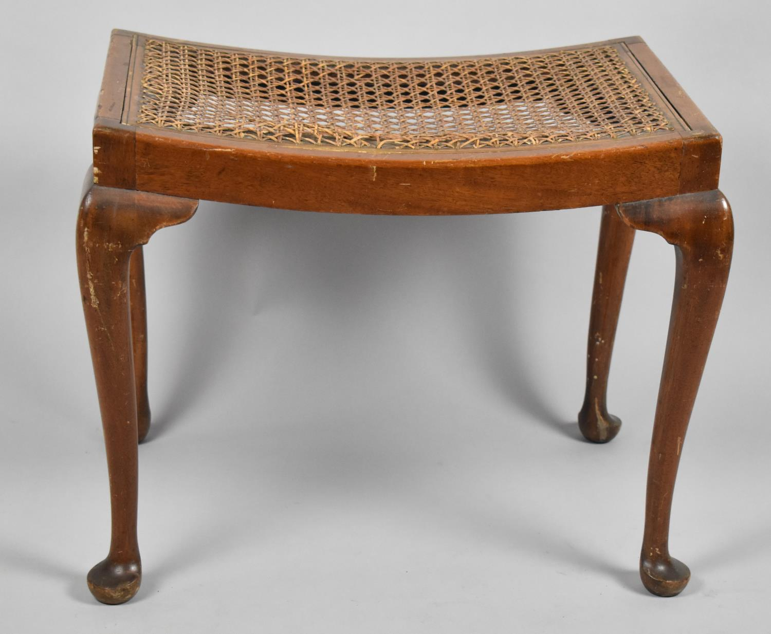 A Mid 20th Century Walnut Framed Rectangular Stool on Cabriole Supports, Requires Recaning, 56cm
