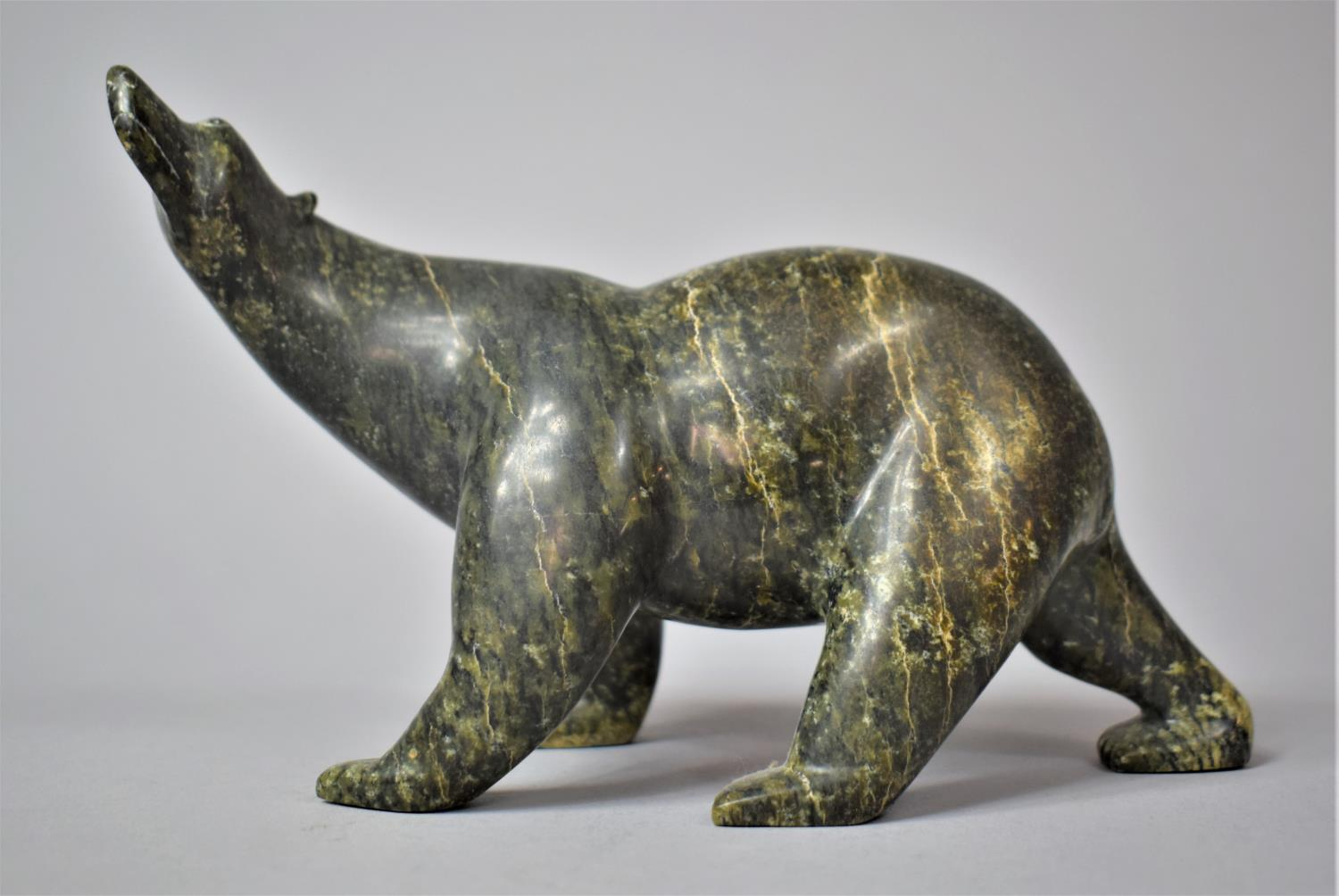 A Hand Carved Canadian Inuk Study of a Polar, 18cm Long