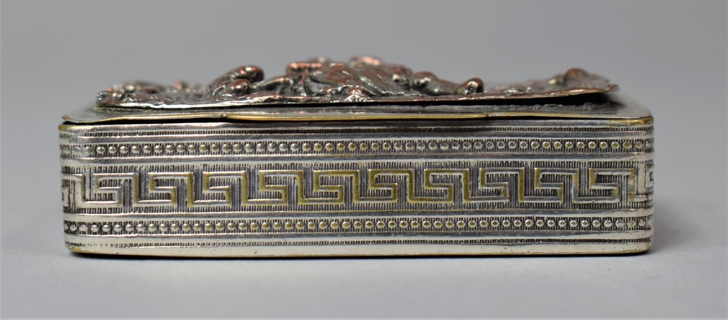 A French Silver Plated and Mixed Metal Rectangular Snuff, the Hinged Lid Decorated in Relief with - Image 4 of 7