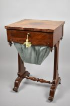 A Regency Mahogany Work Table with Single Top Drawer Over Wool Slide, Pierced Supports and Turned