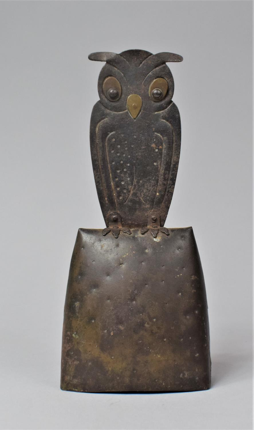 A German Arts and Crafts Handbell, the Handle in the Form of a Long Eared Owl, In Mixed Metal,