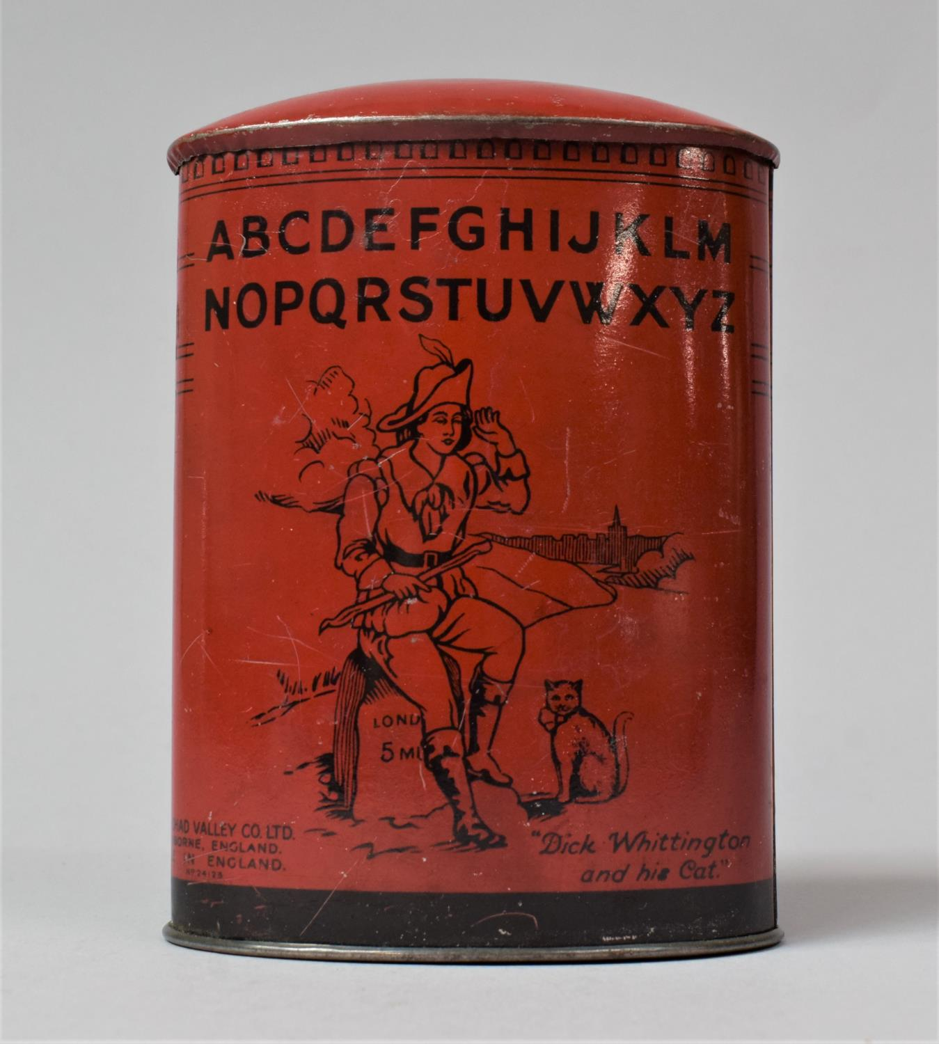 A Chad Valley Tinplate Money Box in the Form of a Post Box Inscribed with Alphabet and Dick