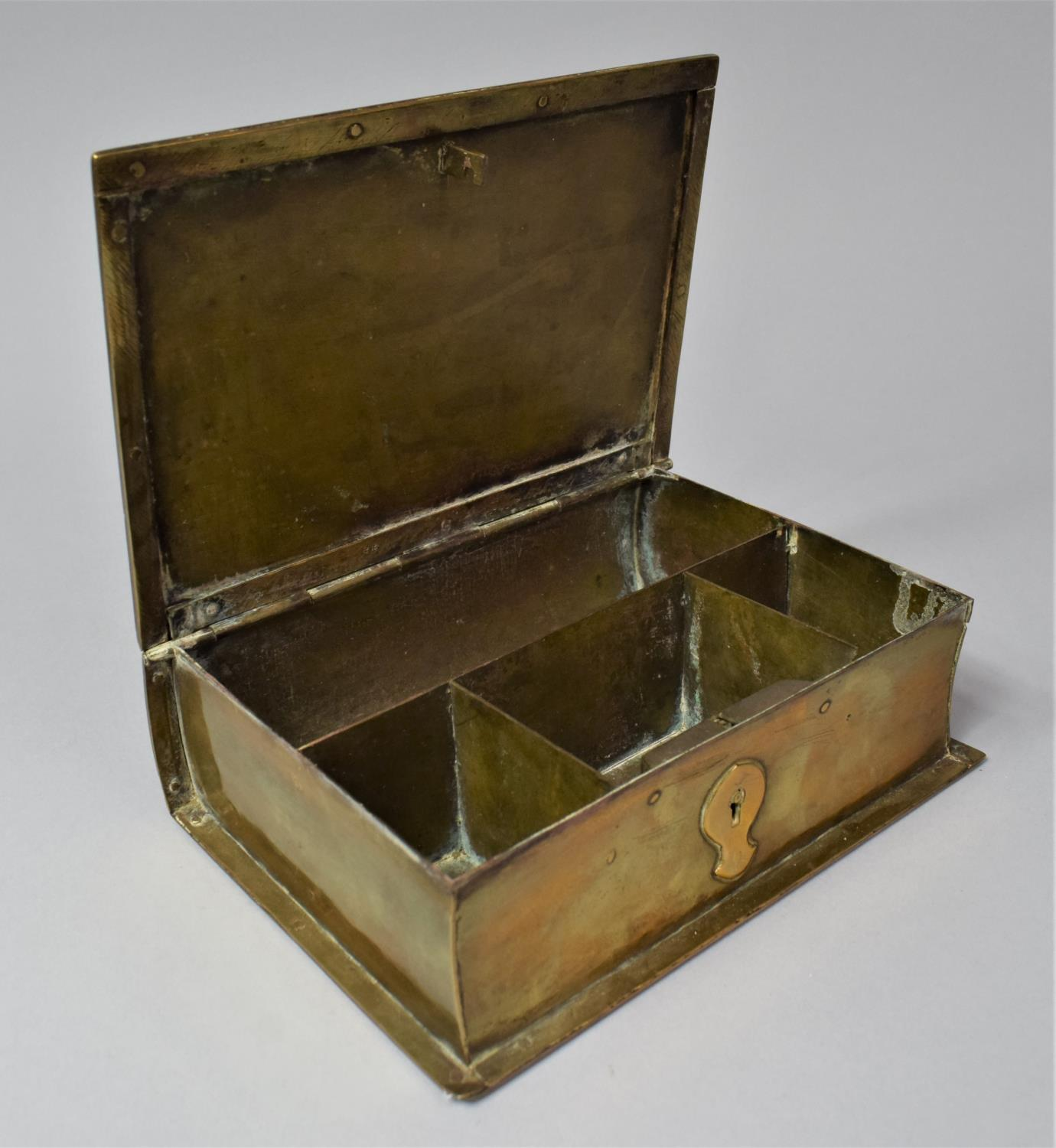 A Late Victorian Novelty Brass Box in the Form of a Book, with Hinged Lid to Fitted Interior, 13cm x - Image 7 of 8