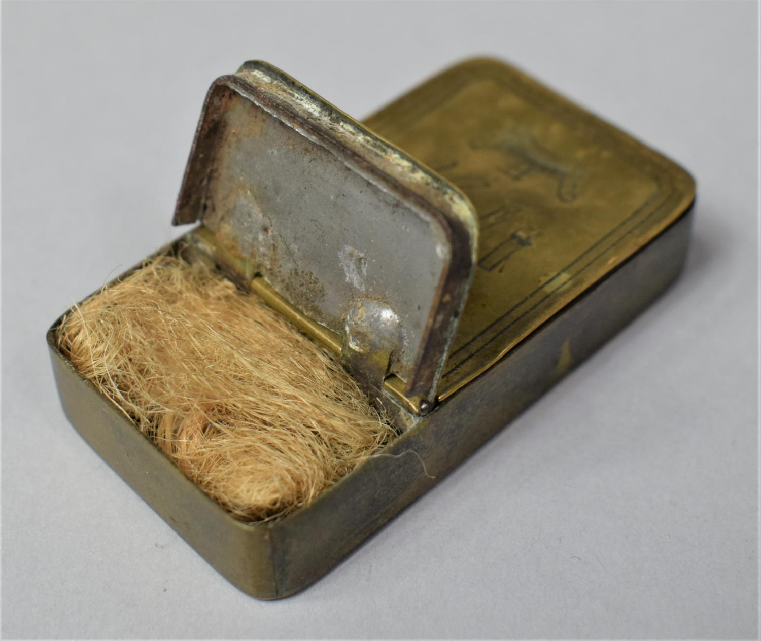 A Georgian Rectangular Brass Two Division Box, Possibly for Snuff, One Side Containing Lock of Hair, - Image 4 of 6