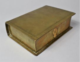 A Late Victorian Novelty Brass Box in the Form of a Book, with Hinged Lid to Fitted Interior, 13cm x