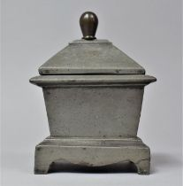 A 19th Century Lead Tobacco Box of Sarcophagus Form, 11cm Wide