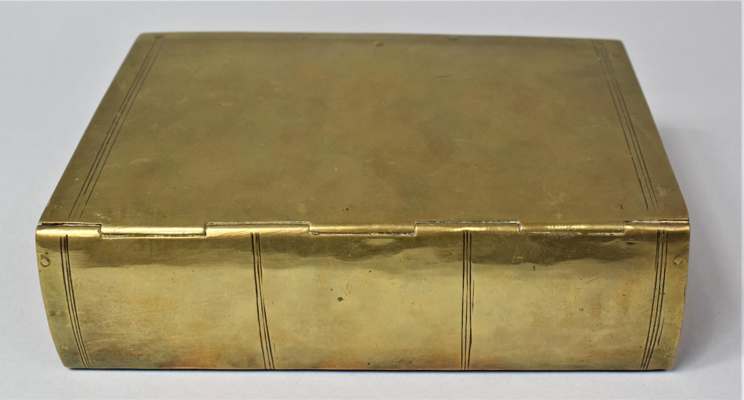 A Late Victorian Novelty Brass Box in the Form of a Book, with Hinged Lid to Fitted Interior, 13cm x - Image 5 of 8