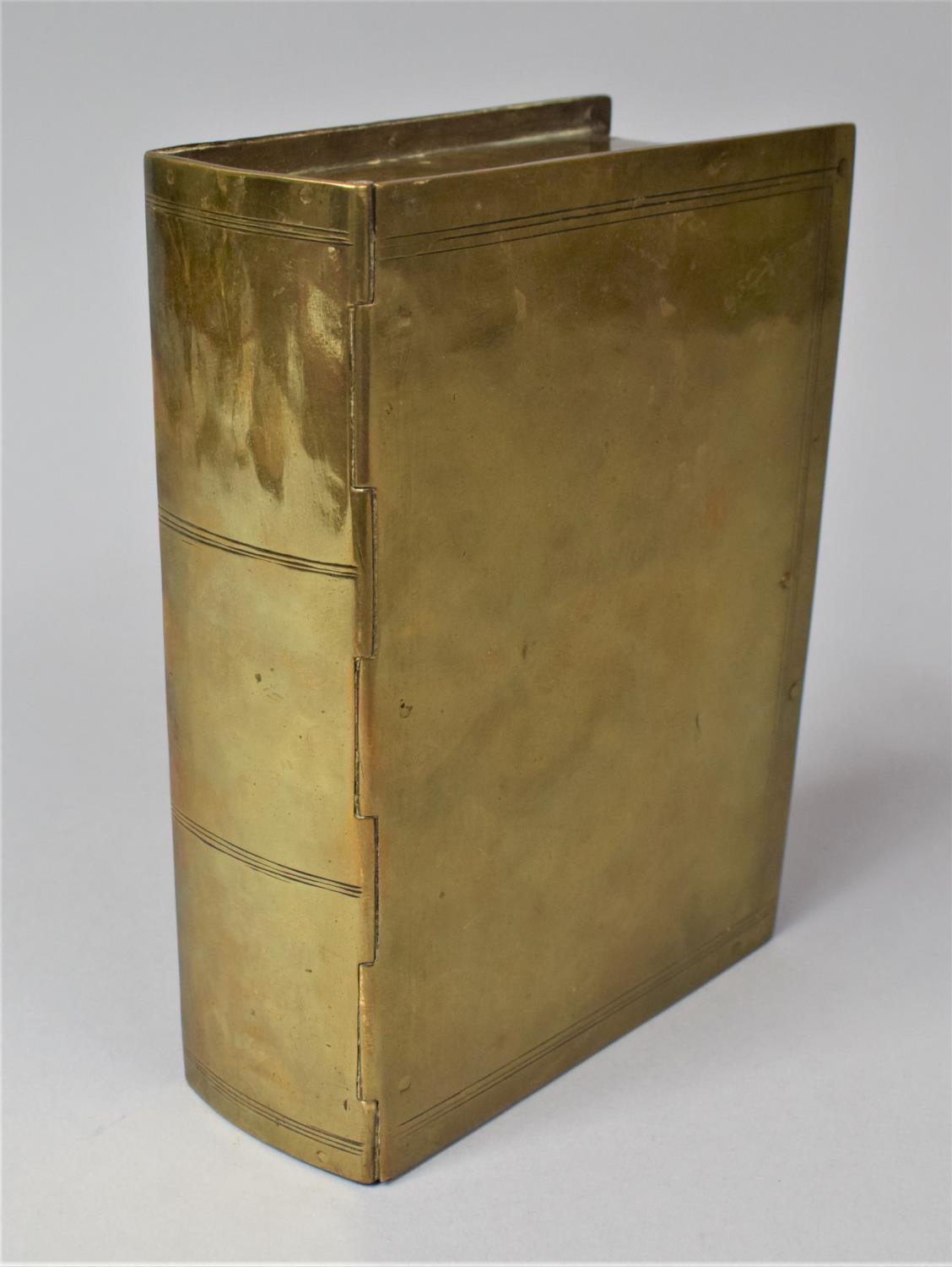 A Late Victorian Novelty Brass Box in the Form of a Book, with Hinged Lid to Fitted Interior, 13cm x - Image 6 of 8