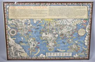 """A Large Mounted Poster Map, """"The Time and Tide Map Of The Atlantic Charter"""". Macdonald Gill 1942,"""