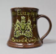 A Cornish Pottery Treacle Glazed 1977 Silver Jubilee Tankard