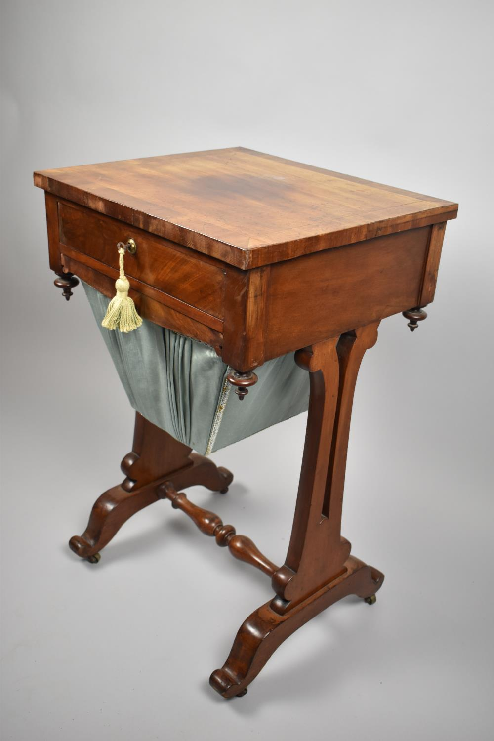 A Regency Mahogany Work Table with Single Top Drawer Over Wool Slide, Pierced Supports and Turned - Image 3 of 3