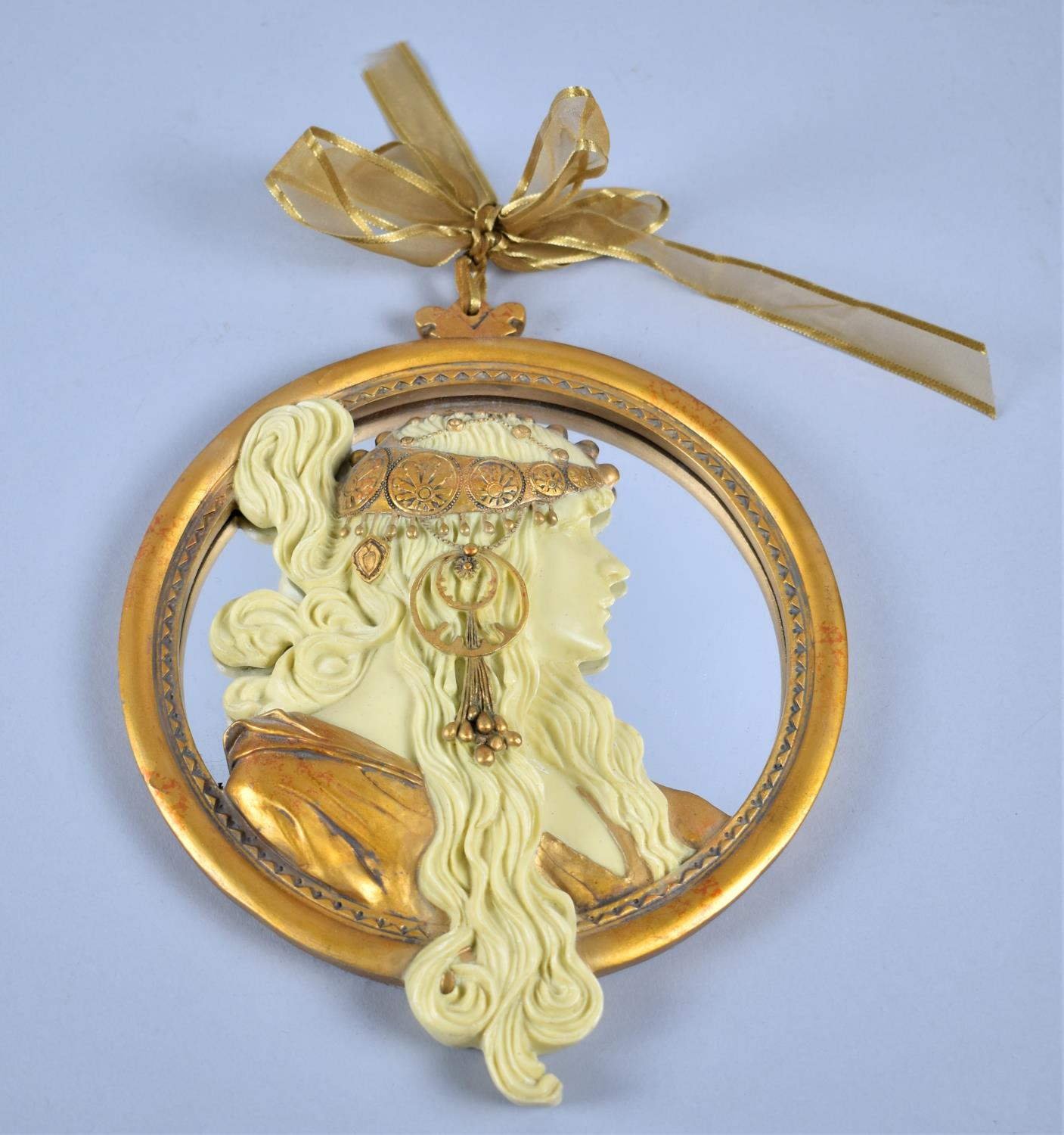 A Modern Resin Framed Circular Wall Mirror, Decorated with Medieval Maiden, 20cm Diameter