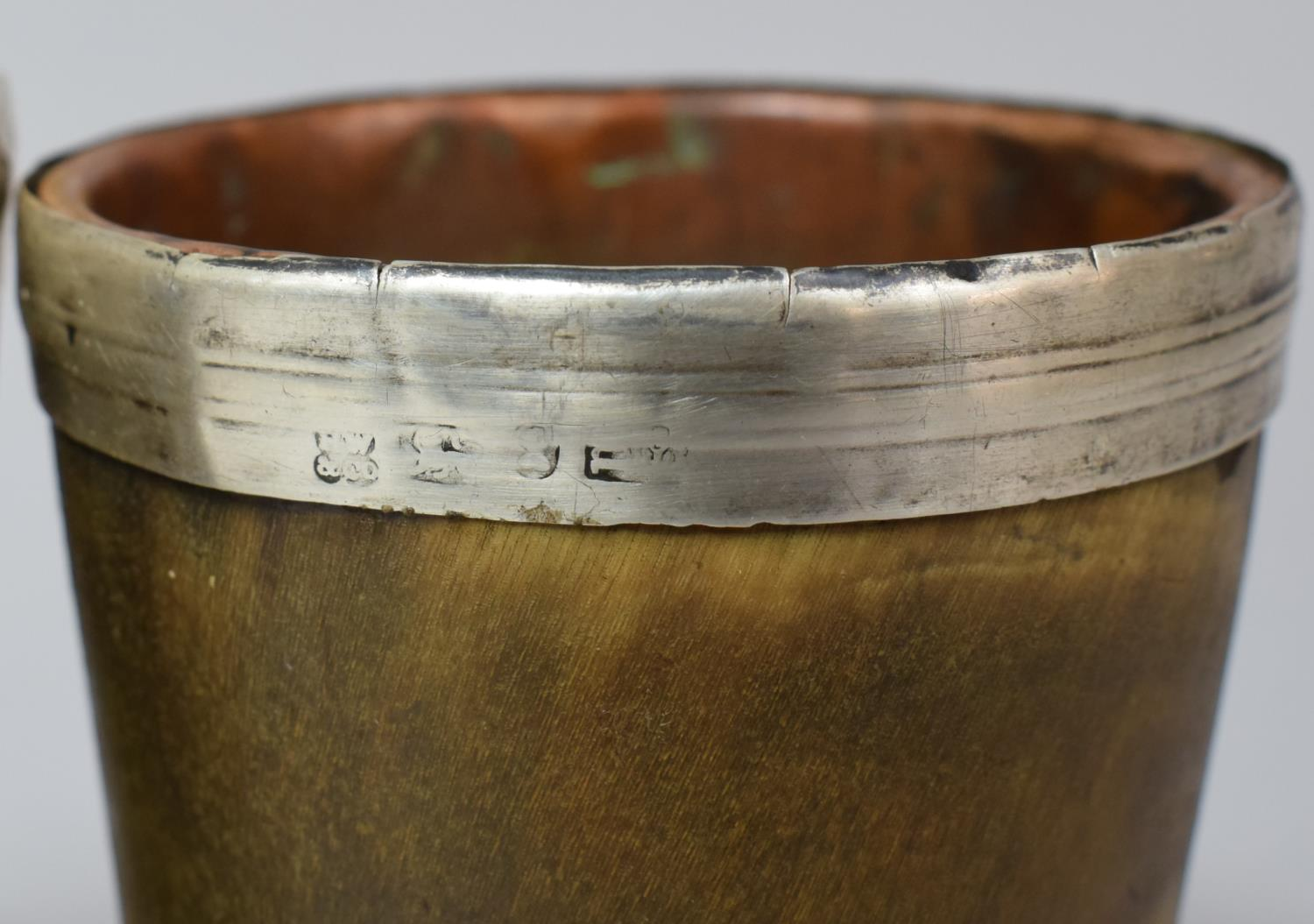 A Pair of 19th Century Silver Rimmed Scottish Horn Beakers with Original Tinned Copper Liners and - Image 3 of 5