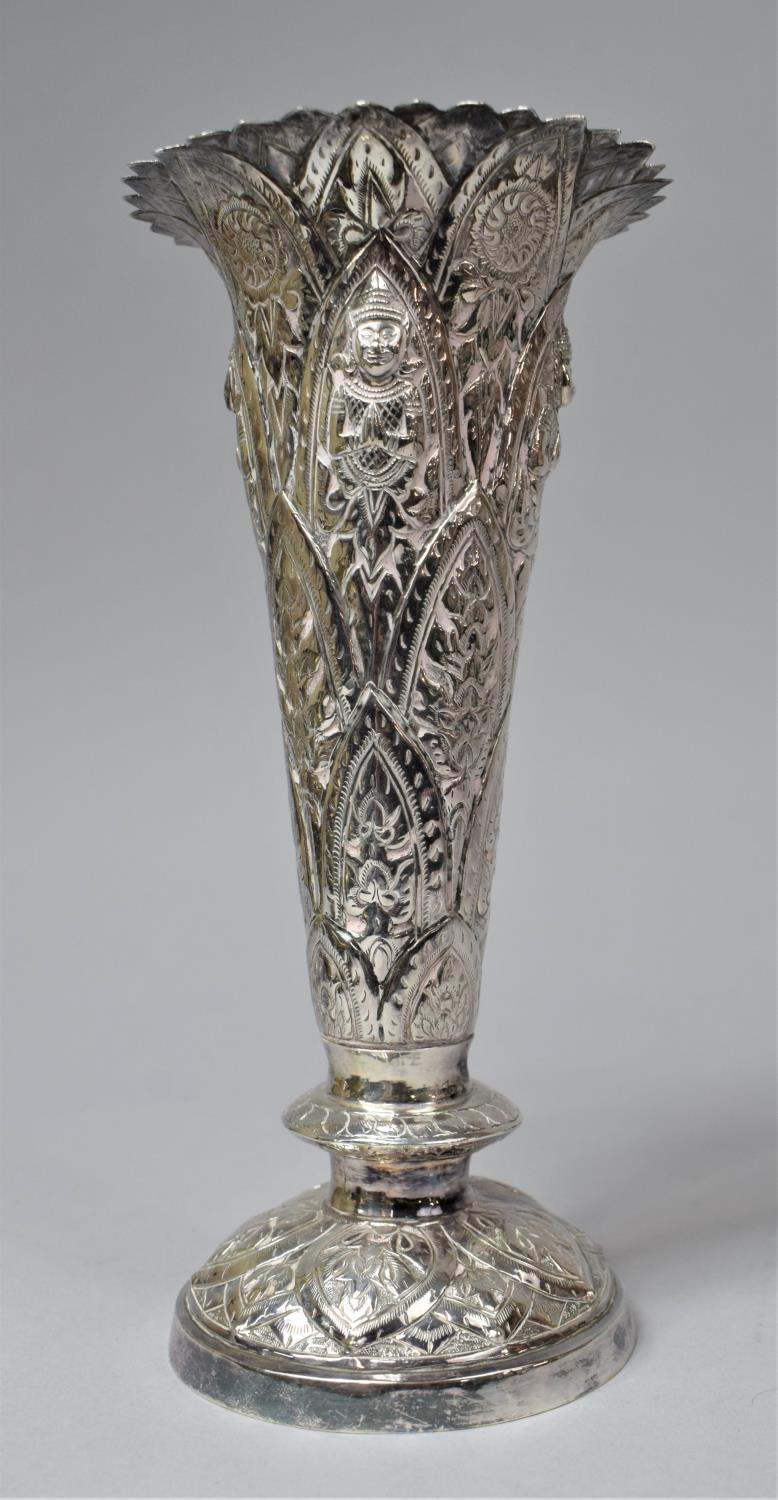 A Set of Three Indian Silver Trumpet Vases with Hand Hammered Repousse work, Depicting Namaste - Image 6 of 13