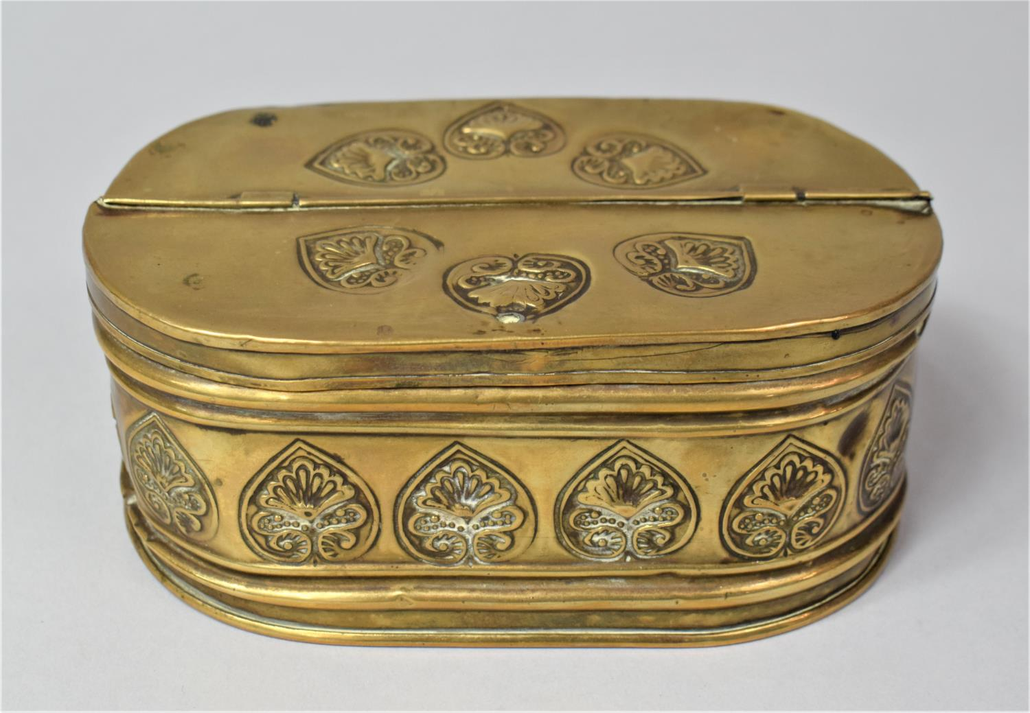 A 19th Century Dutch Brass Oval Two Division Tobacco Box with Hinged Lid, 15.5cm Long