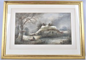 A Gilt Framed Watercolour Depicting Old Lady Gathering Firesticks Outside Thatched Cottage in