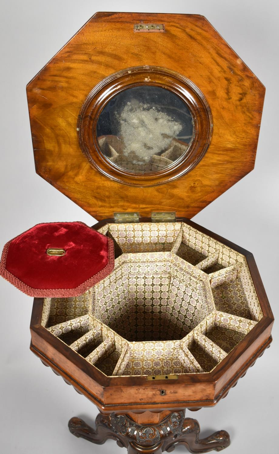 A Victorian Burr Walnut Octagonal Topped Ladies Work Box of Trumpet Form, Hinged Lid to Fitted Inner - Image 4 of 4