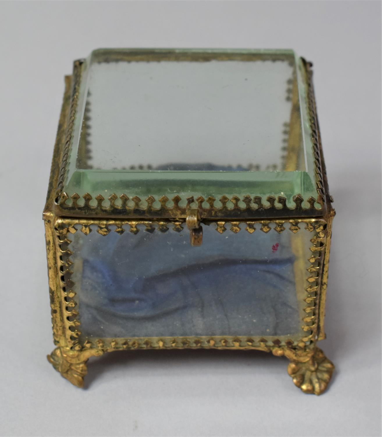 A Late 19th Century French Ormolu Framed Glass Jewellery Box on Four Scrolled Feet, 6.5cm Square - Image 2 of 3